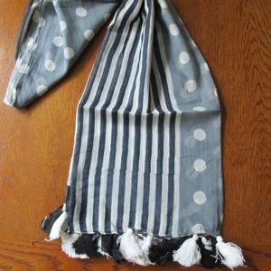 Scarf Stripes Dots Myra Bag Cotton Black &  White